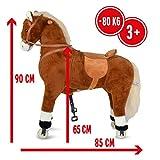 Pink Papaya XXL Reitpferd auf Rollen Amigo, ~ 90 cm Spielpferd, fahrendes Schaukelpferd, Spielzeug Plüsch Pferdzum Drauf sitzen mit Sounds - 2