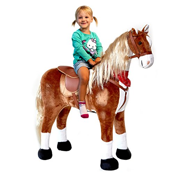 XXL Plüschpferd 105cm - Elsa, das riesige Reitpferd für Kinder, ein tolles Stehpferd Spiel-pferde XXL Pferd zum Draufsitzen inkl. kleiner Bürste, 100kg Tragkraft - ein Kindertraum für Mädchen! Farbe: braun/blonde Mähne - 2