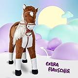 XXL Plüschpferd 105cm - Elsa, das riesige Reitpferd für Kinder, ein tolles Stehpferd Spiel-pferde XXL Pferd zum Draufsitzen inkl. kleiner Bürste, 100kg Tragkraft - ein Kindertraum für Mädchen! Farbe: braun/blonde Mähne - 3