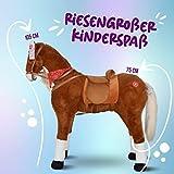 XXL Plüschpferd 105cm - Elsa, das riesige Reitpferd für Kinder, ein tolles Stehpferd Spiel-pferde XXL Pferd zum Draufsitzen inkl. kleiner Bürste, 100kg Tragkraft - ein Kindertraum für Mädchen! Farbe: braun/blonde Mähne - 4