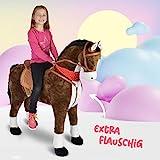 Pink Papaya Giant Riesen XXL Kinderpferd, Herkules, 125 cm Plüsch-Pferd zum reiten, fast lebensgroßes Spielzeug Pferd zum drauf sitzen, bis 100kg belastbar, mit verschiedenen Sounds, inkl. kleiner Bürste - 3