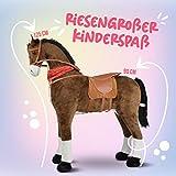 Pink Papaya Giant Riesen XXL Kinderpferd, Herkules, 125 cm Plüsch-Pferd zum reiten, fast lebensgroßes Spielzeug Pferd zum drauf sitzen, bis 100kg belastbar, mit verschiedenen Sounds, inkl. kleiner Bürste - 4