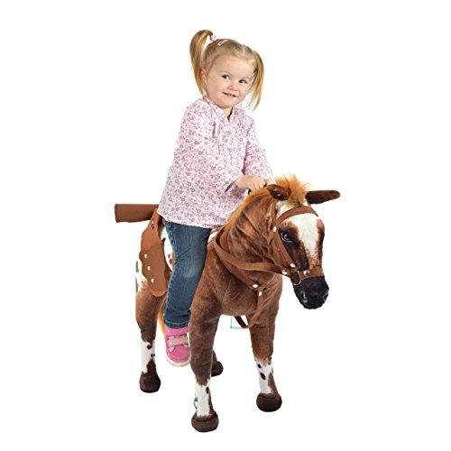 Pink Papaya Plüschpferd XXL 70 cm - Stehpferd Johnny - großes Appaloosa Spielpferd zum Drauf sitzen bis 100 kg belastbar mit Sound, Spielzeug Cowboy Pferd zum Träumen Toys - 2