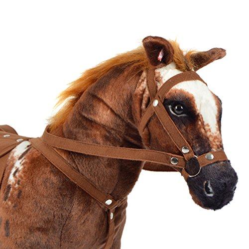Pink Papaya Plüschpferd XXL 70 cm - Stehpferd Johnny - großes Appaloosa Spielpferd zum Drauf sitzen bis 100 kg belastbar mit Sound, Spielzeug Cowboy Pferd zum Träumen Toys - 3