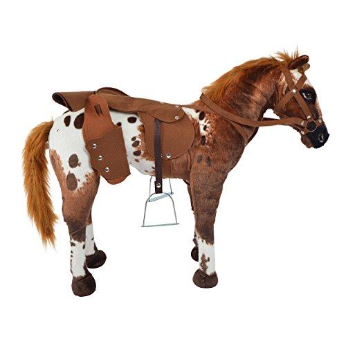 Pink Papaya Plüschpferd XXL 70 cm - Stehpferd Johnny - großes Appaloosa Spielpferd zum Drauf sitzen bis 100 kg belastbar mit Sound, Spielzeug Cowboy Pferd zum Träumen Toys - 4