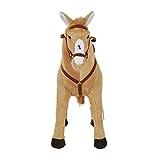 HOMCOM Reitpferd Spielpferd Plüschpferd Spielpferd für Kinder Stehpferd mit Sound Beige 85 x 28 x 60 cm - 4