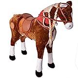 TE-Trend XXL Plüsch Pferd Stehpferd Standpferd Sattel Kinder Schaukeltier Spielzeug Reitpferd 82cm Sitzhöhe Hellbraun - 2