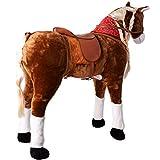 TE-Trend XXL Plüsch Pferd Stehpferd Standpferd Sattel Kinder Schaukeltier Spielzeug Reitpferd 82cm Sitzhöhe Hellbraun - 3